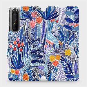 Flip pouzdro Mobiwear na mobil Sony Xperia 1 II - MP03P Modrá květena