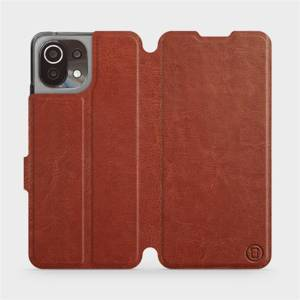Flip pouzdro Mobiwear na mobil Xiaomi 11 Lite 5G NE v provedení C_BRP Brown&Orange s oranžovým vnitřkem