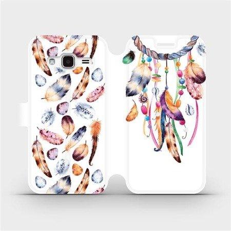 Flipové pouzdro Mobiwear na mobil Samsung Galaxy J3 2016 - M003S Lapač a barevná pírka
