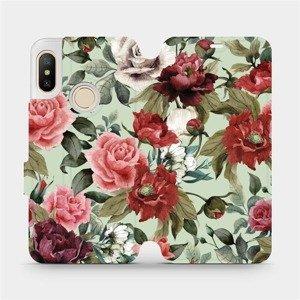 Flipové pouzdro Mobiwear na mobil Xiaomi Mi A2 Lite - MD06P Růže a květy na světle zeleném pozadí
