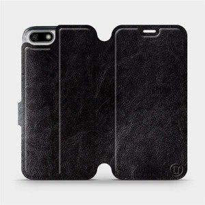 Flipové pouzdro Mobiwear na mobil Honor 7S v provedení C_BLS Black&Gray s šedým vnitřkem