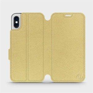 Flipové pouzdro Mobiwear na mobil Apple iPhone XS v provedení C_GOS Gold&Gray s šedým vnitřkem
