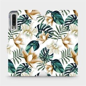 Flipové pouzdro Mobiwear na mobil Samsung Galaxy A7 2018 - MC07P Zlatavé květy a zelené listy