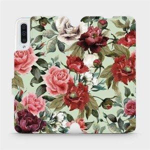 Flipové pouzdro Mobiwear na mobil Samsung Galaxy A50 - MD06P Růže a květy na světle zeleném pozadí