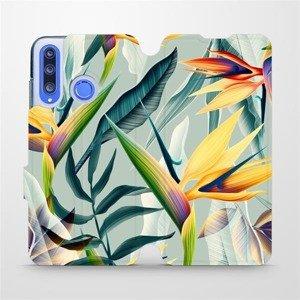Flipové pouzdro Mobiwear na mobil Honor 20 Lite - MC02S Žluté velké květy a zelené listy