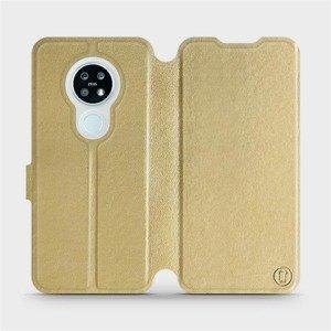 Flipové pouzdro Mobiwear na mobil Nokia 6.2 v provedení C_GOS Gold&Gray s šedým vnitřkem