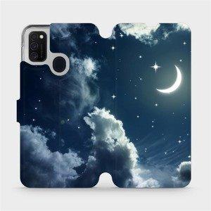 Flipové pouzdro Mobiwear na mobil Samsung Galaxy M21 - V145P Noční obloha s měsícem