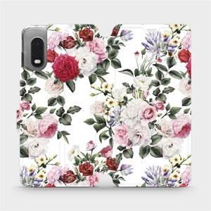Flipové pouzdro Mobiwear na mobil Samsung Xcover PRO - MD01S Růže na bílé