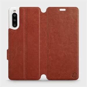 Flipové pouzdro Mobiwear na mobil Sony Xperia 10 II v provedení C_BRP Brown&Orange s oranžovým vnitřkem