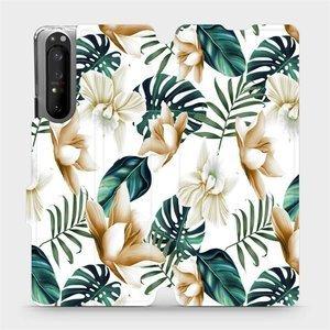 Flipové pouzdro Mobiwear na mobil Sony Xperia 1 II - MC07P Zlatavé květy a zelené listy