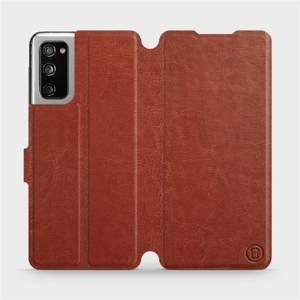 Flipové pouzdro Mobiwear na mobil Samsung Galaxy S20 FE v provedení C_BRP Brown&Orange s oranžovým vnitřkem