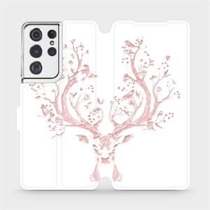 Flipové pouzdro Mobiwear na mobil Samsung Galaxy S21 Ultra 5G - M007S Růžový jelínek