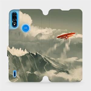 Flipové pouzdro Mobiwear na mobil Motorola Moto E7 Power - MA03P Oranžové letadlo v horách