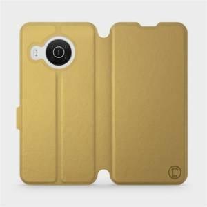 Flip pouzdro Mobiwear na mobil Nokia X10 v provedení C_GOS Gold&Gray s šedým vnitřkem