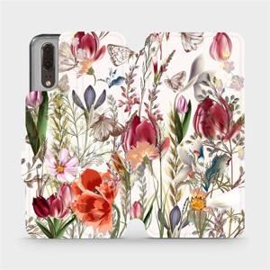 Flip pouzdro Mobiwear na mobil Huawei P20 - MP01S Rozkvetlá louka