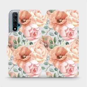 Flip pouzdro Mobiwear na mobil Huawei Nova 5T - MP02S Pastelové květy