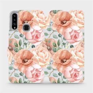 Flip pouzdro Mobiwear na mobil Samsung Galaxy A20S - MP02S Pastelové květy