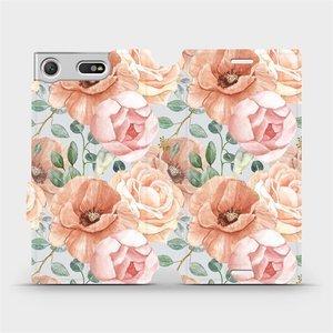 Flip pouzdro Mobiwear na mobil Sony Xperia XZ1 Compact - MP02S Pastelové květy