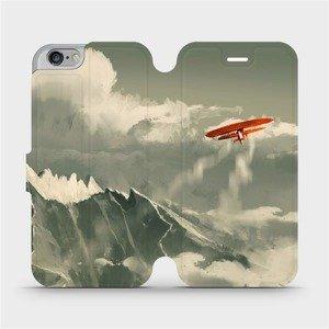 Flipové pouzdro Mobiwear na mobil Apple iPhone 6 / iPhone 6s - MA03P Oranžové letadlo v horách