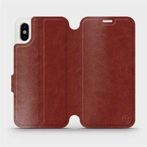 Parádní flip pouzdro Mobiwear na mobil Apple iPhone X v provedení C_BRP Brown&Orange s oranžovým vnitřkem