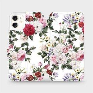 Flipové pouzdro Mobiwear na mobil Apple iPhone 11 - MD01S Růže na bílé