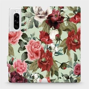 Flipové pouzdro Mobiwear na mobil Sony Xperia 5 - MD06P Růže a květy na světle zeleném pozadí