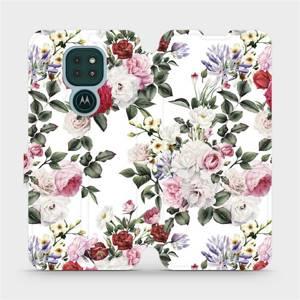Flipové pouzdro Mobiwear na mobil Motorola Moto G9 Play - MD01S Růže na bílé
