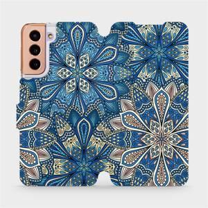 Flipové pouzdro Mobiwear na mobil Samsung Galaxy S21 5G - V108P Modré mandala květy