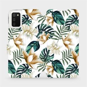 Flipové pouzdro Mobiwear na mobil Samsung Galaxy A02s - MC07P Zlatavé květy a zelené listy