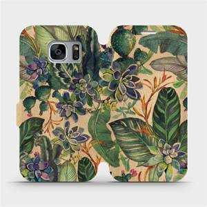 Flip pouzdro Mobiwear na mobil Samsung Galaxy S7 Edge - VP05S Sukulenty