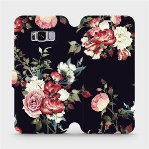 Flipové pouzdro Mobiwear na mobil Samsung Galaxy S8 - VD11P Růže na černé