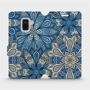 Flipové pouzdro Mobiwear na mobil Samsung Galaxy A8 2018 - V108P Modré mandala květy