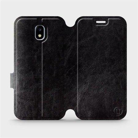 Parádní flip pouzdro Mobiwear na mobil Samsung Galaxy J3 2017 v provedení C_BLS Black&Gray s šedým vnitřkem