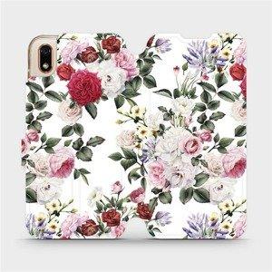 Flipové pouzdro Mobiwear na mobil Huawei Y5 2019 - MD01S Růže na bílé