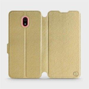 Flipové pouzdro Mobiwear na mobil Xiaomi Redmi 8a v provedení C_GOS Gold&Gray s šedým vnitřkem