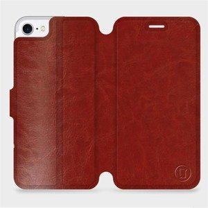 Flipové pouzdro Mobiwear na mobil Apple iPhone SE 2020 v provedení C_BRP Brown&Orange s oranžovým vnitřkem