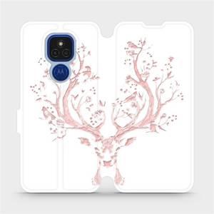 Flipové pouzdro Mobiwear na mobil Motorola Moto E7 Plus - M007S Růžový jelínek