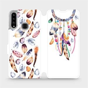 Flipové pouzdro Mobiwear na mobil Samsung Galaxy A20S - M003S Lapač a barevná pírka