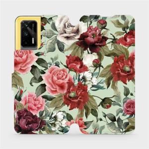 Flipové pouzdro Mobiwear na mobil Realme GT 5G - MD06P Růže a květy na světle zeleném pozadí