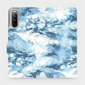 Flip pouzdro Mobiwear na mobil Sony Xperia 10 III - M058S Světle modrá horizontální pírka