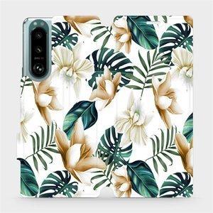 Flip pouzdro Mobiwear na mobil Sony Xperia 5 III - MC07P Zlatavé květy a zelené listy