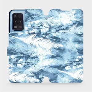 Flip pouzdro Mobiwear na mobil Realme 8 5G - M058S Světle modrá horizontální pírka