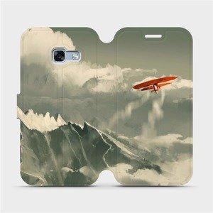 Flipové pouzdro Mobiwear na mobil Samsung Galaxy A3 2017 - MA03P Oranžové letadlo v horách