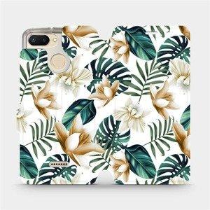 Flipové pouzdro Mobiwear na mobil Xiaomi Redmi 6 - MC07P Zlatavé květy a zelené listy