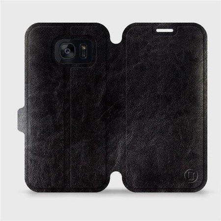 Parádní flip pouzdro Mobiwear na mobil Samsung Galaxy S7 Edge v provedení C_BLP Black&Orange s oranžovým vnitřkem