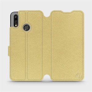 Flipové pouzdro Mobiwear na mobil Huawei P Smart 2019 v provedení C_GOS Gold&Gray s šedým vnitřkem