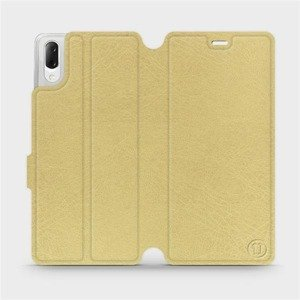 Flipové pouzdro Mobiwear na mobil Sony Xperia L3 v provedení C_GOS Gold&Gray s šedým vnitřkem