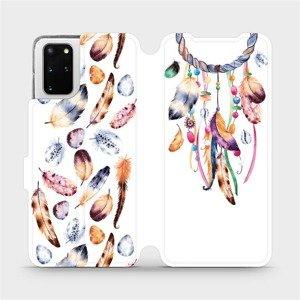 Flipové pouzdro Mobiwear na mobil Samsung Galaxy S20 Plus - M003S Lapač a barevná pírka