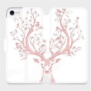 Parádní flip pouzdro Mobiwear na mobil Apple iPhone SE 2020 - M007S Růžový jelínek - výprodej
