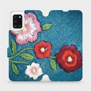 Flipové pouzdro Mobiwear na mobil Samsung Galaxy A31 - MD05P Džínové květy